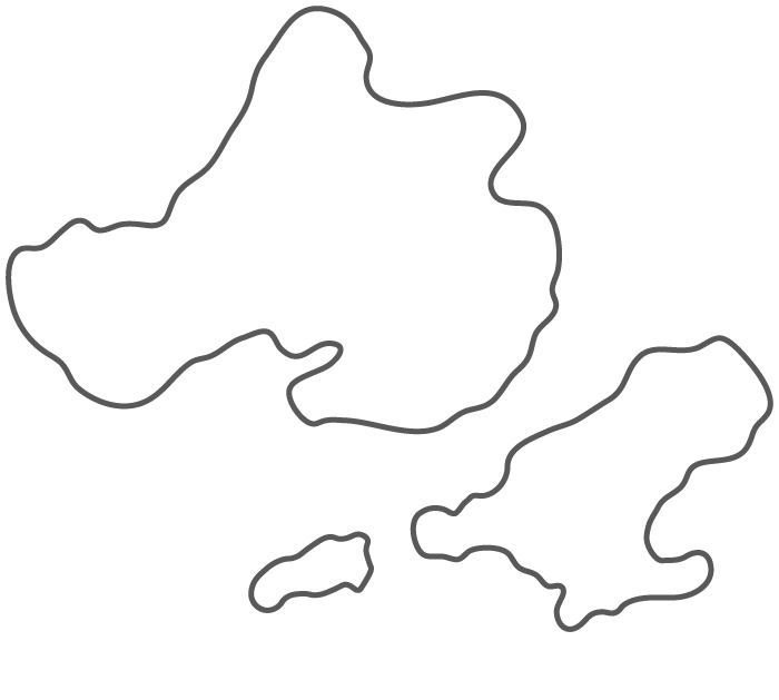 Illustrated map of Madison, WI showing outlines of 3 lakes and bike paths extending in multiple directions